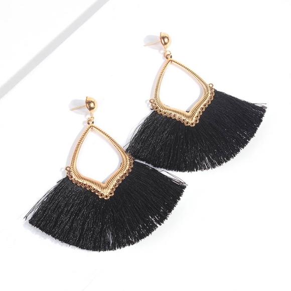 Jewelry - ONE LEFT!!! Black Tassel Earrings